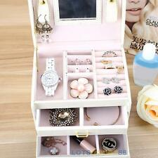 Hot! PU Leather Jewelry Box Ring Earring Necklace Display Storage Organizer Case