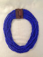 HANDMADE Blue Royal Blue Lapis Blue Glass Beaded Necklace Wooden Buckle Closure