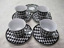 Set of 4 Black White Diamond Checker Pattern Darice Tea Cups Saucers Diner Cafe