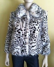 NWT VIGOSS COLLECTION Women's Coat Jacket Faux Lynx Fur 3/4 Sleeve White Size XS