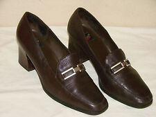 Aerosoles Chain Reaction Womens Brown Leather Heel Loafer Shoe - Size 10M