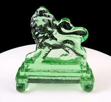"ANTIQUE GREEN GLASS CROWNED LION ON STEPS 4 1/8"" FIGURAL PAPER WEIGHT"