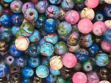 250 6mm Glass Marbled Beads Beautiful MIXED COLOURS Free UK Postage