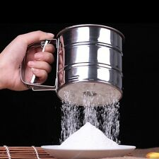 Useful Mesh Flour Bolt Sifter Manual Sugar Icing Shaker Stainless Steel Cup Tool