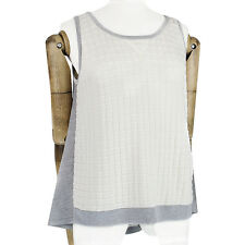 MRZ Cream Grey Technical Knit Bias-Cut Floaty Back Tank Top Vest Knitwear M UK10