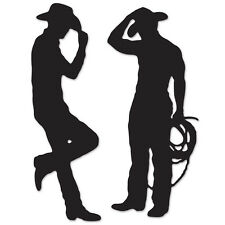 Western Themed Party Decorations Cowboy Silhouettes Wall-Mount Decor 2 Count