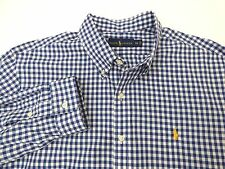 RALPH LAUREN OXFORD GINGHAM PONY BLUE WHITE CHECKER MEN'S SZ 2XL DRESS SHIRT XXL