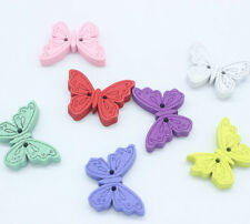 50pc Wood Buttons Colorful Butterfly 2 Holes Mixed 24mm x17mm D001