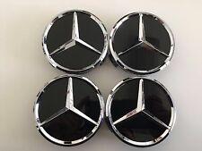 4 PCS 75mm / 3 INCH BLACK WHEEL BADGE CENTER CAPS FOR MERCEDES BENZ C E CLS S