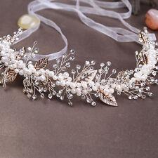 Pearl Crystal Leaf Wedding Handmade Headband Headdress Bridal Hair Accessories