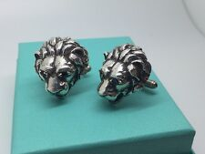 Large Sterling Silver Lion Head Sapphire Cufflink Cufflinks Cuff Links Cuff Link