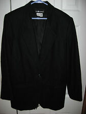 Womens Black SAG HARBOR Lined Wool Blazer Jacket 16