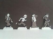 Lot 4 Figurines Métal Tintin en noir et blanc ( sermon casque chinois officier )