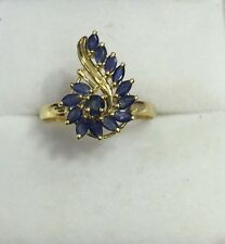 14k Solid Yellow Gold Cluster Ring With Natural Sapphire Size7.5 Marquise 2.18GM