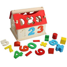 Kid Baby Educational Toy Wood House Building Intellectual Developmental Toys