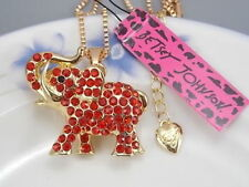 Betsey Johnson fashion jewelry Red Crystal elephant pendant necklace # A