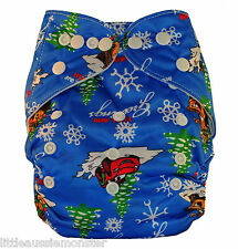 Christmas Reusable Modern Cloth Nappy MCN with FREE Insert - xmas Blue Deer Gift