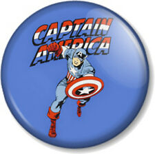 "Captain America Superhero 25mm 1"" Pin Button Badge Marvel Comics Avengers Blue"