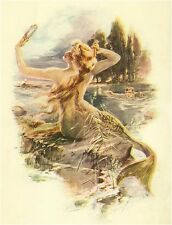 VINTAGE MERMAID PRINT SIREN MIRROR SEDUCTION SEA MYSTICAL CANVAS ART  FREE SHIP