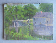 Vintage Alfred Lang Signed Oil Painting of Rural Landscape with House
