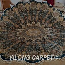 Yilong 11.2'x11.2' Persian Handknotted Silk Round Rug Wavy Qum Carpet 1606