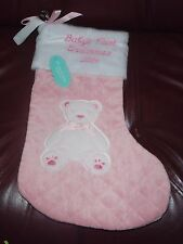 Christmas Girls Plush Soft Baby's First Christmas  Bear Stocking HAS 2014 NEW