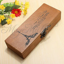 Retro Eiffel Tower Wood Wooden Pen Pencil Case Holder Stationery Box Storage Z チ