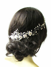 White Ivory Silver Diamante Bridal Hair Vine Comb Headpiece Headband Pearl 1242