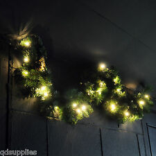 Pre Lit Garland LED Light Up Christmas Decoration Green Pine Cone Foliage Gar100