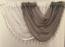 Beaded swags and voile panels set white & black, Lots of colours now available.