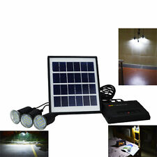 4W Solar Panel Charger Home System Kit 5V 3 LED Light USB Garden Camping Outdoor