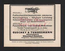 DÜSSELDORF-REISHOLZ, Werbung 1929, Guschky & Tönnesmann Maschinen-Fabrik