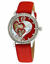 Sturhling Original Harmony 196A 121H37 Open Face Red Heart Mother of Pearl Watch