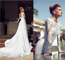 Weiß/Elfenbein Spitze Langar rückenfrei Brautkleider Brautjungfer Hochzeitskleid