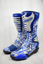 Men's Vintage StylMartin Blue White Patterned Leather Motorbike Boots UK 9