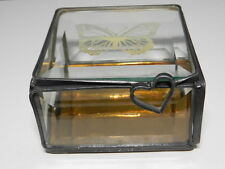 Decorative Hinged Trinket Box Bevelled Glass Butterfly Etch Heart Shaped Handle