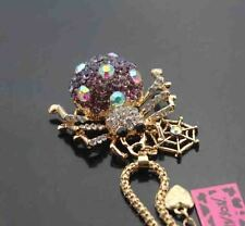H509Z   Betsey Johnson Crystal Spider Pendant Sweater Chain Necklace