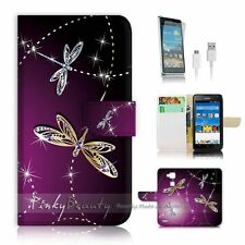 Huawei Ascend Mate 7 Flip Wallet Case Cover! P1844 Dragonfly