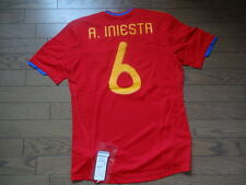 Spain #6 Iniesta 100% Original Soccer Jersey Shirt M 2010/11 Home Still BNWT