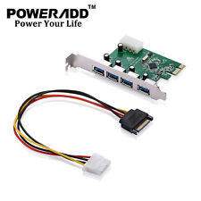 4 Ports PCI-E USB 3.0 Express Expansion Card Internal For Desktop W/Front Panel