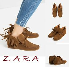 ZARA Light Brown Suede Real Leather Loafers New With Tags Size US 8 EUR 39