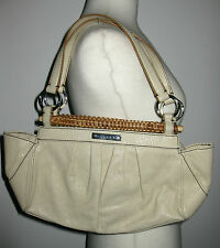 My Auth SISLEY CREAM LEATHER Look RATTAN TRIM Pleated POUCH SAC HAND BAG Retro