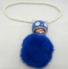 Blue Monchichi Bling Keychain Car Hanging Charm Pom Pom Purse Accessory Crystal