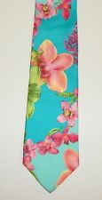 VERSACE Blue Pink Hawaiian Tropical Floral Print Silk Neck Tie