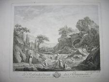 Radierung von J. Daullée: Ruinen Wasserfall 1758/Etching Ruins Waterfall Boucher