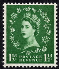 1960 1½d Green Spec S32 Crowns Wmk Wilding Phosphor Reacting Green MNH