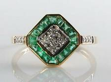 LOVELY 9CT 9K YELLOW GOLD EMERALD DIAMOND ART DECO INS RING FREE RESIZE