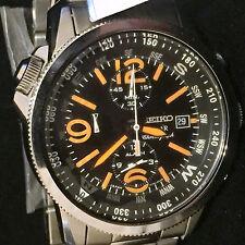 NEW Seiko Mens Solar Alarm Chronograph - Black Dial n Orange accents - date -SS-