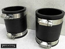 """2 x 2"""" Rubber Coupling 50mm PVC Waste Pipe Coupler BRAND NEW 48MM TO 57MM"""