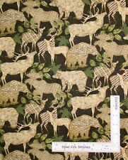 Christmas Fabric - Moose Deer Bear Elk GREEN Benartex #00805 Alpine Woods - Yard